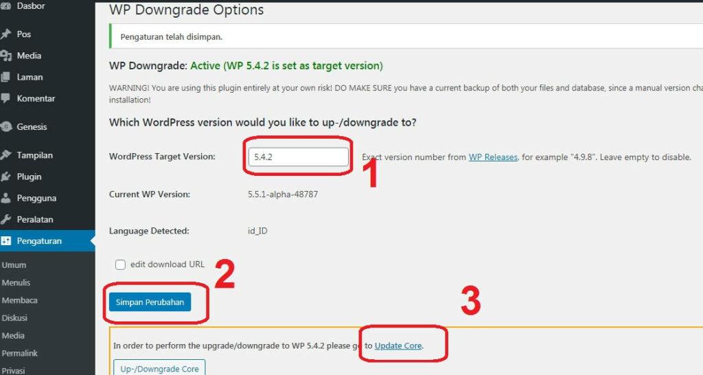 Downgrade WordPress Core